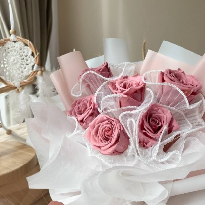 Heart Preserved Flower Bouquet (Nationwide Delivery)