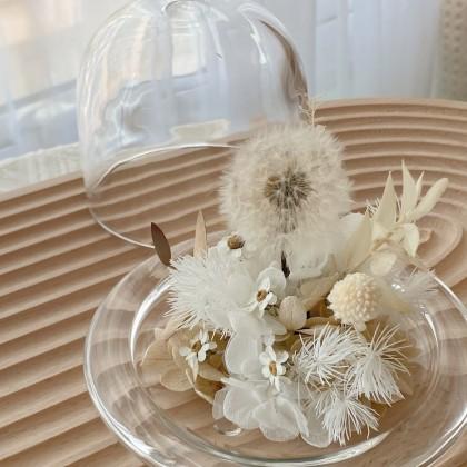 Dandelion Preserved Flower Bell Jar